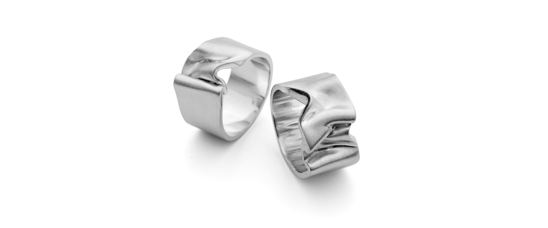 Ribbon Brushed Silver Platinum Gold Rings Wedding Band