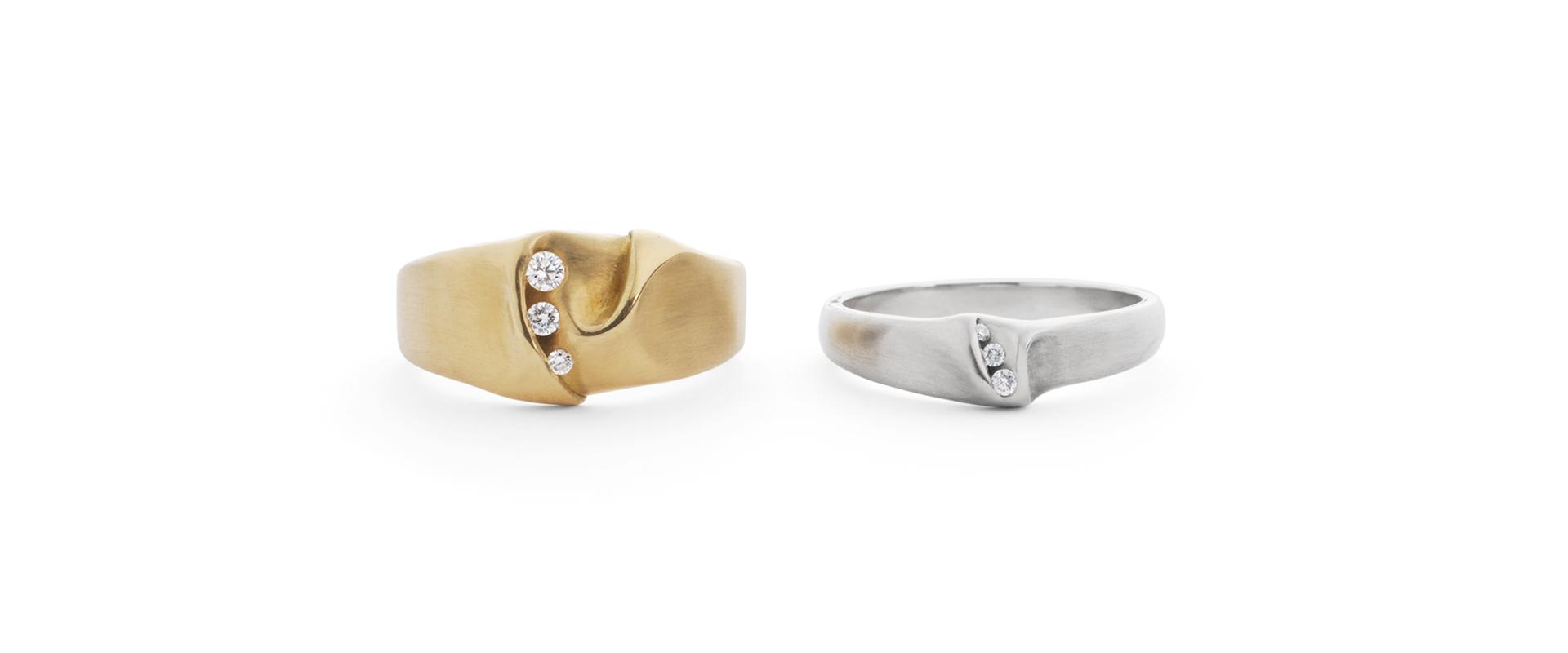 Ripple Gold Platinum Diamonds Ring Anniversary Wedding Bands