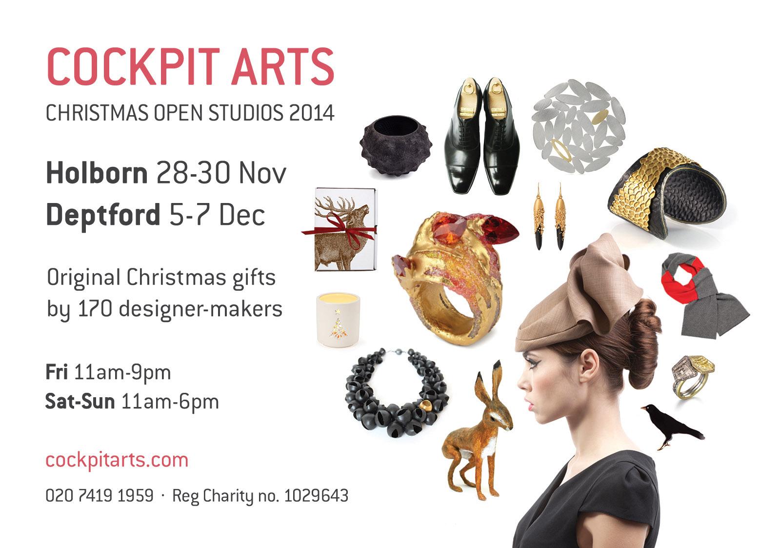 Cockpit Arts Christmas Open Studios invitation 2014