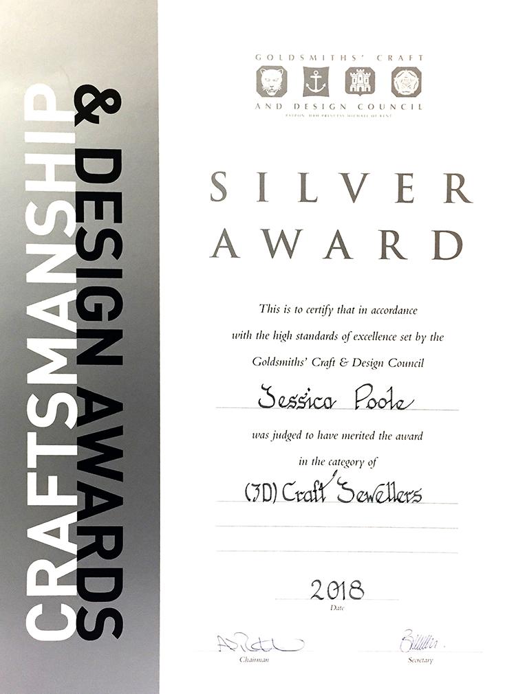 GCDCA 2018 3D Craft Jewellers Silver award Jessica Poole London