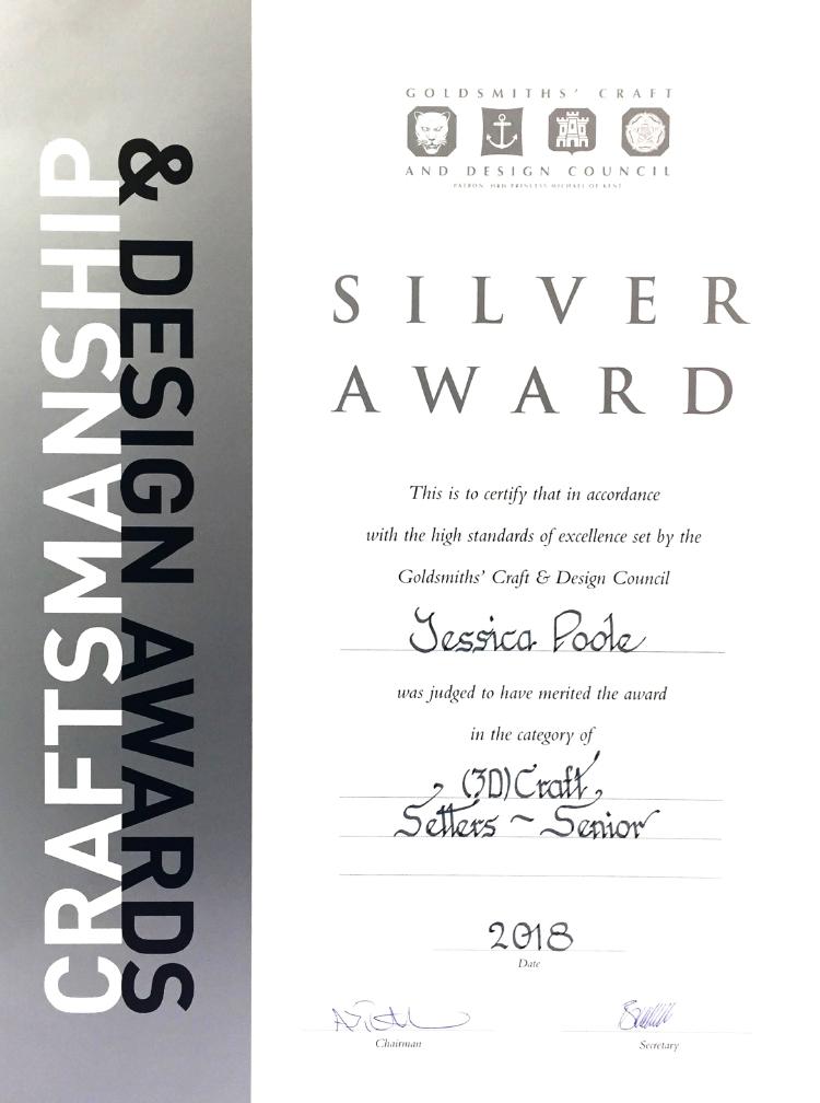 GCDCA 2018 3D Craft Setters Silver award Jessica Poole London