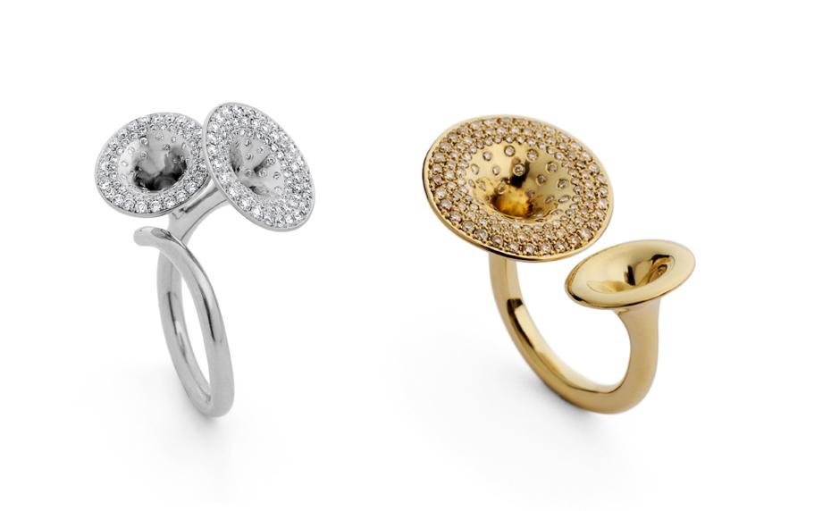 Jubilee diamond trumpet rings Jessica Poole London